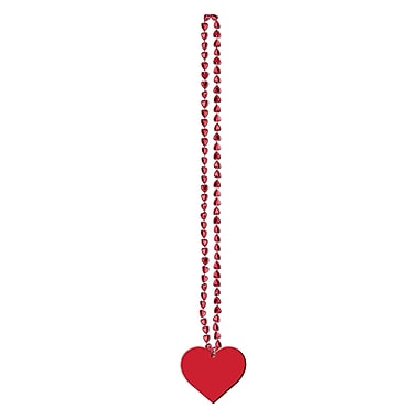 Cinnamon Heart Beads With Heart Medallion, 36