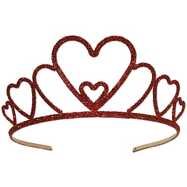 Glittered Metal Heart Tiara, Red