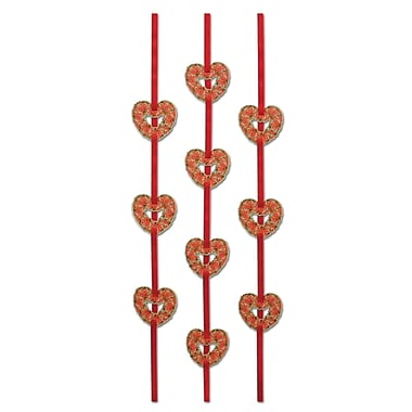 Beistle 4' Heart Ribbon Stringers, Red, 12/Pack
