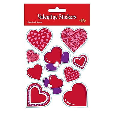 Valentine Stickers, Assorted Heart colours, 4¾