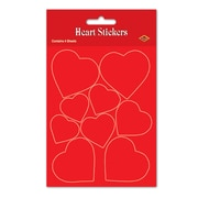 """Heart Stickers, Red, 4¾"""" x 7½"""", 32/Pack"""