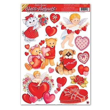 Autocollants Saint-Valentin, personnages variés, feuille de 12x17, paq./8