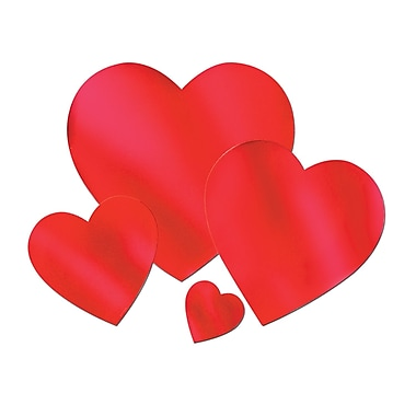 Foil Heart Cutout, Red, 4