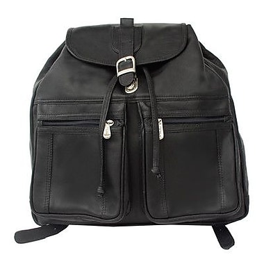 Piel Drawstring Backpack; Black