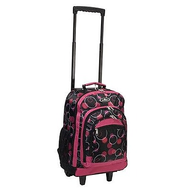 Everest 18'' Telescoping Print Pattern Rolling Backpack; Magenta/Plum Bubbles