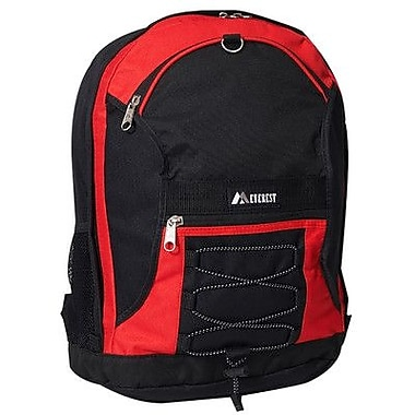 Everest 17'' Two-Tone Backpack with Mesh Pockets; Red/Black
