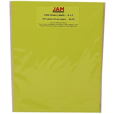 JAM Paper® Mailing Address Labels Terra Lime Green, 2x4in., 120/Pk, 120/Pack
