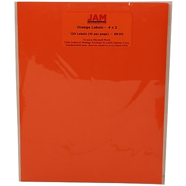 JAM Paper® Mailing Address Labels Cosmic Orange, 2x4in., 120/Pk, 120/Pack
