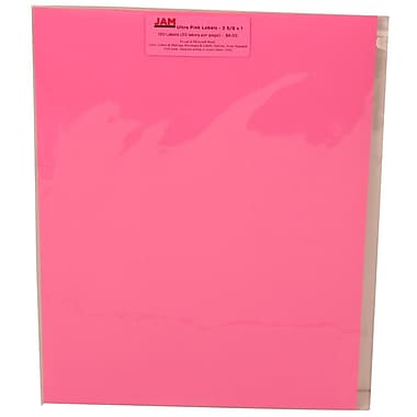 JAM Paper® Mailing Address Labels Astrobright Pulsar Pink, 2-5/8x1in., 120/Pk, 120/Pack