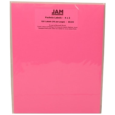 JAM Paper® Mailing Address Labels Pulsar Pink, 2x4in., 120/Pk