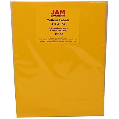 JAM Paper® Mailing Address Astrobright Solar Yellow, 4x3-1/3in., 120/Pk
