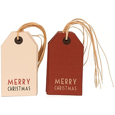 JAM Paper® Christmas Gift Tags Set, 6 Red and 6 White, 12/pack (302025316)