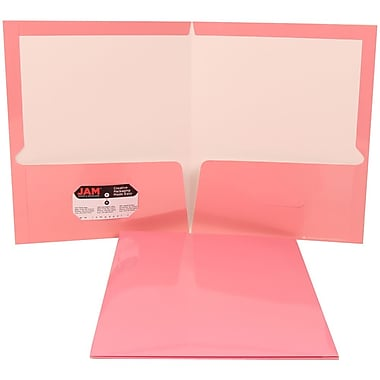 JAM Paper® Glossy Two Pocket Presentation Folder Baby Pink