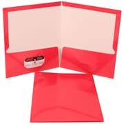 JAM Paper® Glossy Two Pocket Presentation Folder Fuchsia