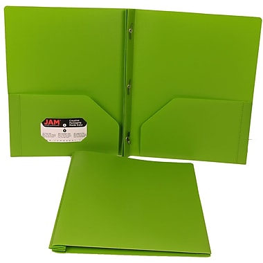 JAM Paper® Plastic Eco Two Pocket Clasp School Folder with Prong Clip Fasteners, Lime Green, 12/Pack (313525325ug)