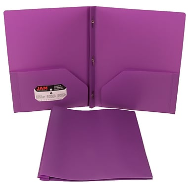 JAM Paper® Plastic Eco Two Pocket Clasp School Folder with Prong Clip Fasteners, Purple, 12/Pack (313525339ug)