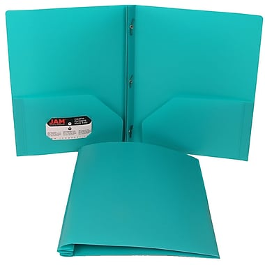 JAM Paper® Plastic Eco Two Pocket Clasp School Folder with Prong Clip Fasteners, Teal 12/Pack (313525341ug)