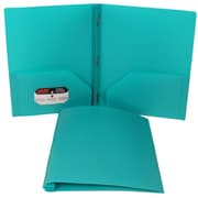 JAM Paper® Biodegradable Plastic Folder Teal, 96/Pack