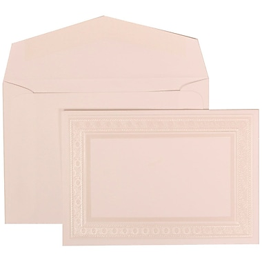 JAM Paper® Wedding Invitation Set, Small, 3 3/8 x 4 3/4, White Card, Ivory Embossed Border, White Envelopes, 100/pk (304924651)