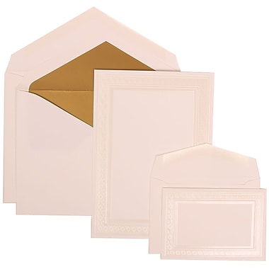 JAM Paper® Wedding Invitation Combo Sets, 1 Sm 1 Lg, White, Ivory Embossed Border, Gold Lined Envelopes, 150/pack (304924645)
