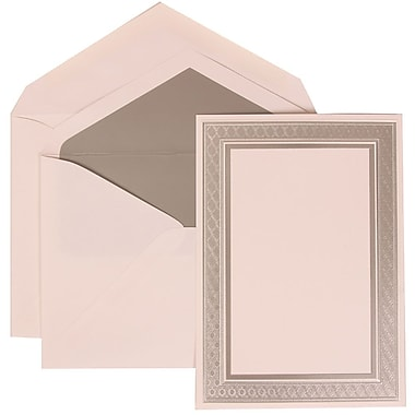 JAM Paper® Wedding Invitation Set, Large, 5.5 x 7.75, White Card with Silver Border, Silver Lined Envelopes, 50/pack (305224673)