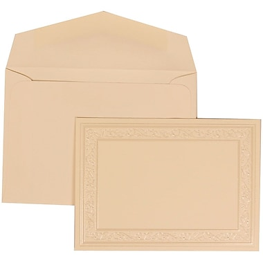 JAM Paper® Wedding Invitation Set, Small, 3 3/8 x 4 3/4, Ivory Cards, Ivory Heart Border, Ivory Envelopes, 100/pack (305924758)