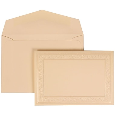 JAM Paper® Wedding Invitation Set, Small, 3 3/8 x 4 3/4, Ivory Foldover, Ivory Heart Border, Ivory Envelopes, 100/pk (305924759)