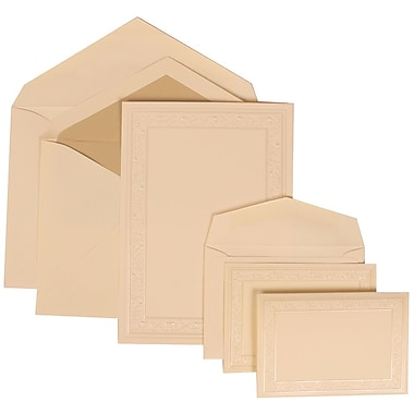 JAM Paper® Wedding Invitation Combo Sets, 1 Sm 1 Lg, Ivory, Ecru Lined Envelopes, Ivory Heart Vine Border, 200/pack (305924762)