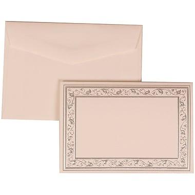 JAM Paper® Wedding Invitation Set, Small, 3 3/8 x 4 3/4, White Foldover Cards, Silver Border, White Envelopes,100/pk (306024765)
