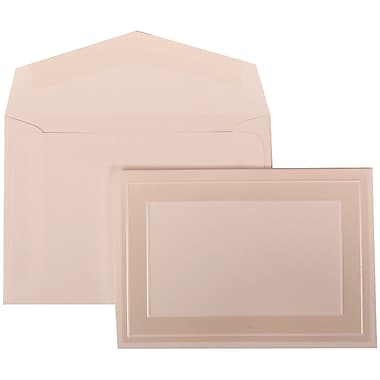 JAM Paper® Wedding Invitation Set, Small, 3 3/8 x 4 3/4, White Cards with Ivory Border, White Envelopes, 100/pack (306424789)