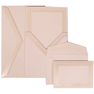 JAM Paper® Wedding Invitation Combo Sets, 1 Sm 1 Lg, White Cards, Ivory Border, Ivory Pocket Envelopes, 150/pack (306424790)