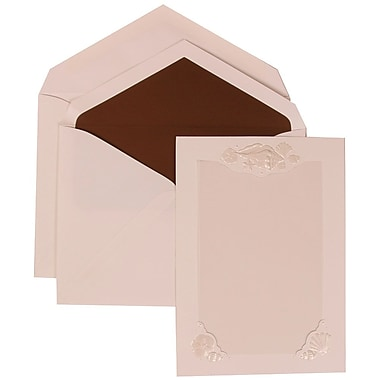 JAM Paper® Wedding Invitation Set, Large, 5.5 x 7.75, White Cards, Seashell Border, Brown Lined Envelopes, 50/pack (307424871)