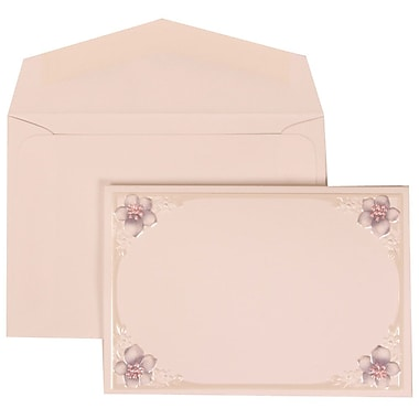 JAM Paper® Wedding Invitation Set, Small, 3 3/8 x 4 3/4, Whice Cards with 4 Purple Flowers, White Envelopes, 100/pk (307624888)