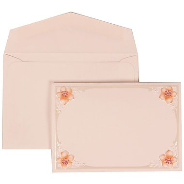 JAM Paper® Wedding Invitation Set, Small, 3 3/8 x 4 3/4, White Cards with 4 Pink Flowers, White Envelopes, 100/pack (307624891)