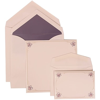 JAM Paper® Wedding Invitation Combo Sets, 1 Sm 1 Lg, Purple Cards, Flower Border, Purple Lined Envelopes, 150/pack (307624889)