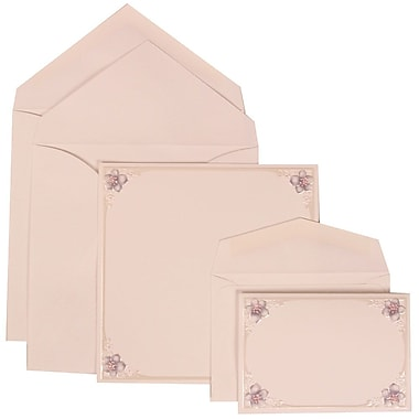 JAM Paper® Wedding Invitation Combo Sets, 1 Sm 1 Lg, White Cards, 4 Purple Flowers, White Envelopes, 150/pack (307624896)