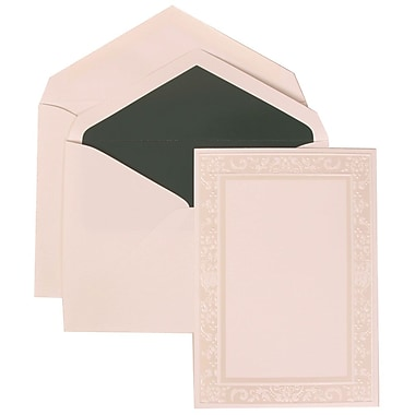 JAM Paper® Wedding Invitation Set, Large, 5.5 x 7.75, White Cards, Ivory Garden Border, Green Lined Envelopes, 50/pk (308324951)