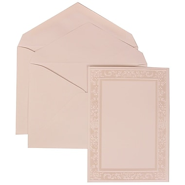 JAM Paper® Wedding Invitation Set, Large, 5.5 x 7.75, White with White Envelopes and Ivory Garden Border, 50/pack (308324955)