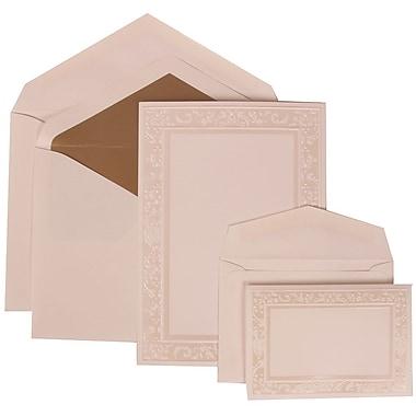 JAM Paper® Wedding Invitation Combo Sets, 1 Sm 1 Lg, White Cards, Ivory Garden Border, Taupe Lined Envelopes, 150/pk (308324950)