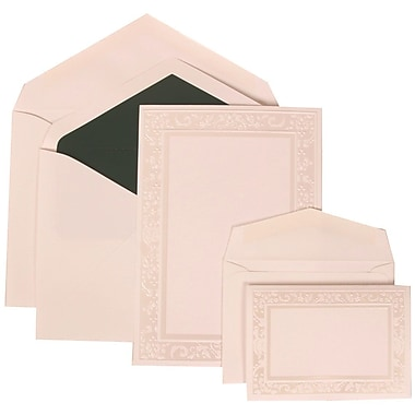 JAM Paper® Wedding Invitation White Card with Forest Green Lined, 150/Pack