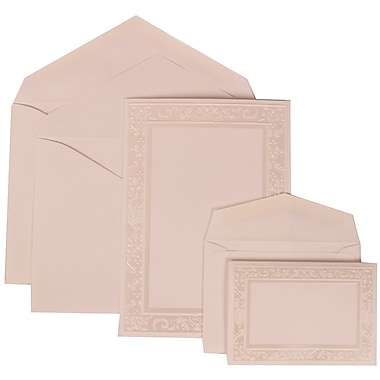 JAM Paper® Wedding Invitation Combo Sets, 1 Sm 1 Lg, White Cards with Ivory Garden Border, White Envelopes, 150/pack (308324956)