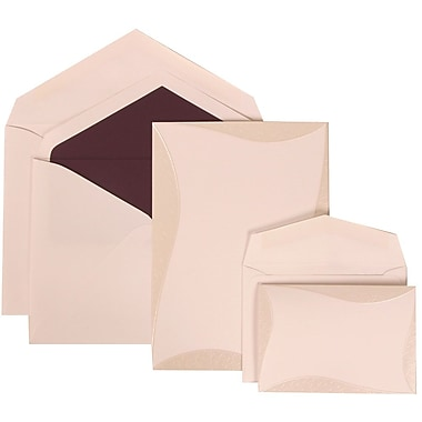 JAM Paper® Wedding Invitation Combo Sets, 1 Sm 1 Lg, White Cards, Curved Border, Mulberry Lined Envelopes, 150/pack (308824988)
