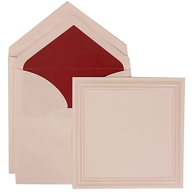 JAM Paper® Wedding Invitation Envelope White Card With Red Lined, 50/Pack