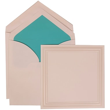 JAM Paper® Wedding Invitation Set, Large Square, 7 x 7, White, Ivory Triple Border, Aqua Blue Lined Envelopes, 50/pk (309225028)