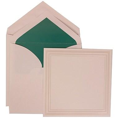 JAM Paper® Wedding Invitation Set, Large Square, 7 x 7, White, Ivory Triple Border, Teal Blue Lined Envelopes, 50/pk (309225026)