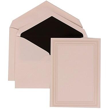 JAM Paper® Wedding Invitation Set, Medium Flat, 5.5x 7.75, White, Simple Border, Aqua Blue Lined Envelopes, 50/pack (309225017)