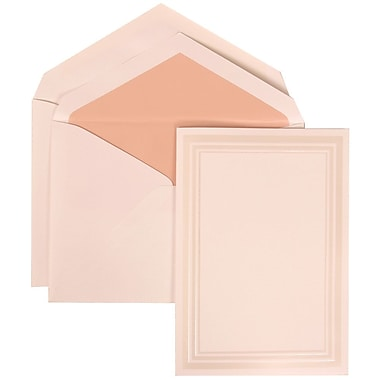 JAM Paper® Wedding Invitation Set, Medium, 5.5 x 7.75, White Cards, Triple Ivory Border, Pink Lined Envelopes, 50/pk (309225024)