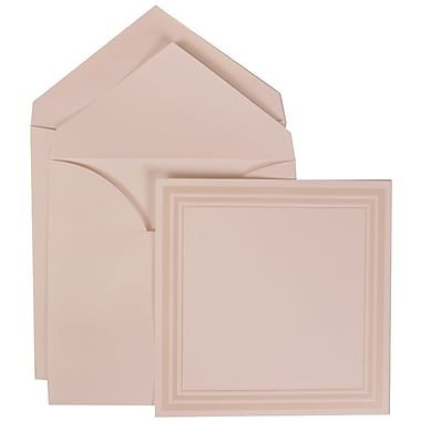 JAM Paper® Wedding Invitation Set, Large Square, 6.25x6.25, White, Triple Ivory Border, White Lined Envelopes, 50/pk (309225033)
