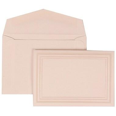 JAM Paper® Wedding Invitation Set, Small, 3 3/8 x 4 3/4, White Cards, Ivory Triple Border, White Envelopes, 100/pack (309225021)
