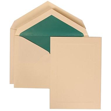 JAM Paper® Wedding Invitation Set, Large, 5.5 x 7.75, Ivory, Ivory Simple Border, Teal Blue Lined Envelopes, 50/pack (309325035)